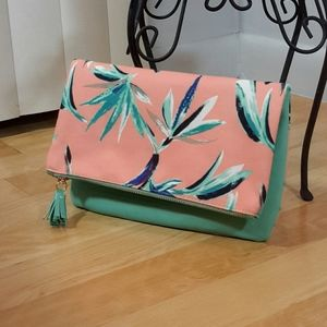 RACHEL PALLY | Reversible Floral And Aqua Clutch!
